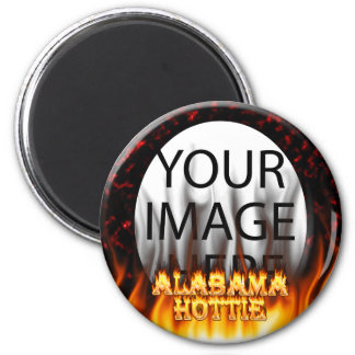 Alabama Hottie fire and flames Red marble 2 Inch Round Magnet