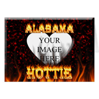 Alabama hottie fire and flames red marble card