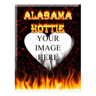 Alabama hottie fire and flames red marble postcard