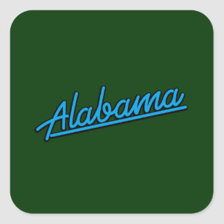 Alabama in cyan square stickers