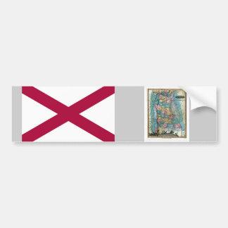 Alabama Map and State Flag Bumper Sticker