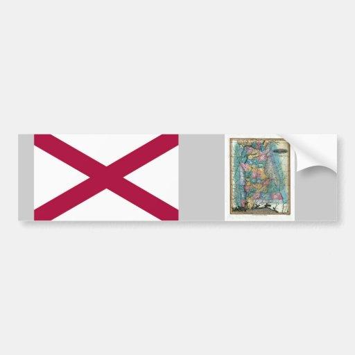 Alabama Map and State Flag Car Bumper Sticker