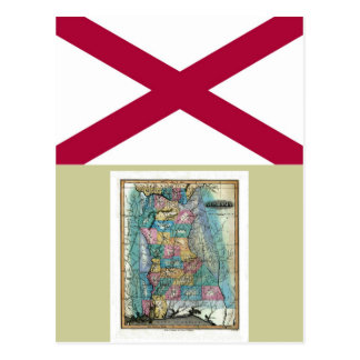 Alabama Map and State Flag Postcard