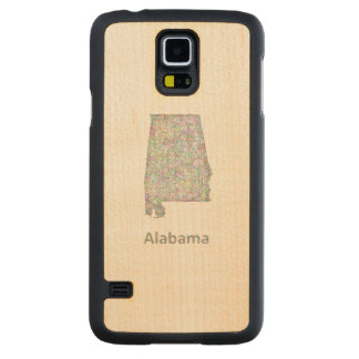 Alabama map carved maple galaxy s5 slim case