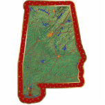 "Alabama Map Christmas Ornament Cut Out<br><div class=""desc"">This acrylic ornament shaped from a relief map of Alabama surrounded by festive trim will add novel Alabaman flair to your seasonal decorations. Also available as a pin,  magnet or keychain. 