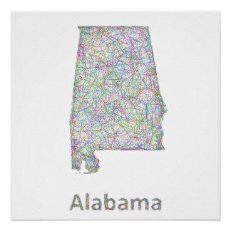 Alabama map poster