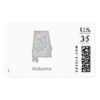 Alabama map stamps