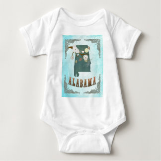 Alabama Map With Lovely Birds Baby Bodysuit