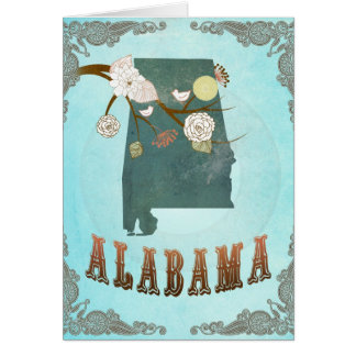Alabama Map With Lovely Birds Card