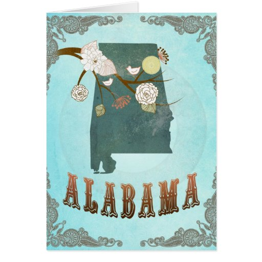 Alabama Map With Lovely Birds Greeting Card