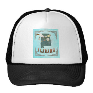 Alabama Map With Lovely Birds Trucker Hat