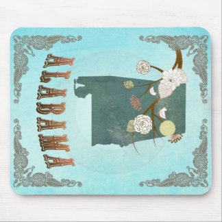 Alabama Map With Lovely Birds Mouse Pad