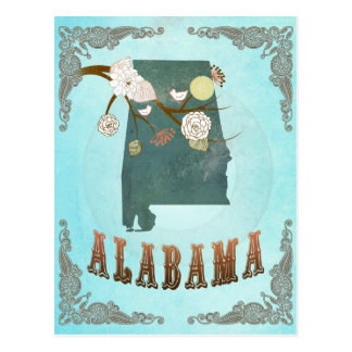 Alabama Map With Lovely Birds Postcard