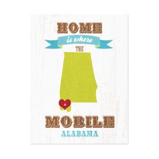 Alabama, mapa móvil - casero es donde está el cora impresión en lona