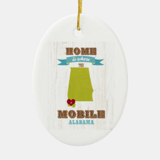 Alabama, Mobile Map – Home Is Where The Heart Is Ceramic Ornament