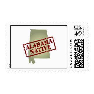 Alabama Native Stamped on Map Postage Stamp