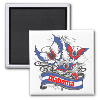 Alabama Patriotism Butterfly 2 Inch Square Magnet