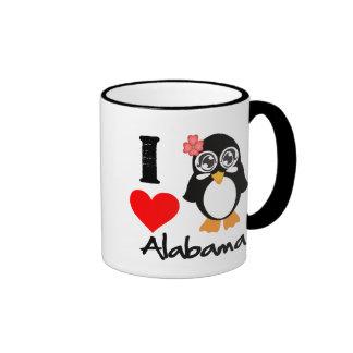 Alabama Penguin - I Love Alabama Ringer Mug
