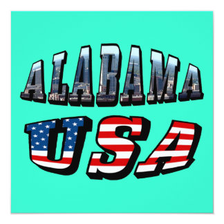 Alabama Picture and USA Flag Font Card