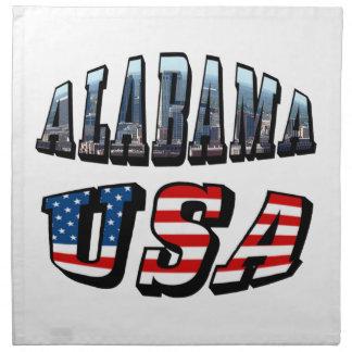 Alabama Picture and USA Flag Font Cloth Napkin