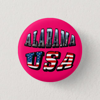 Alabama Picture and USA Flag Font Pinback Button
