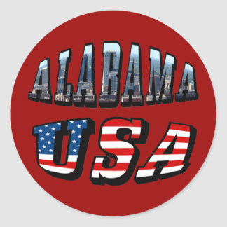 Alabama Picture and USA Flag Font Round Stickers