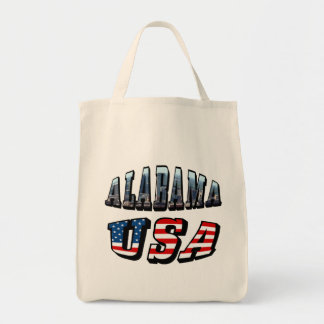 Alabama Picture and USA Flag Font Tote Bag