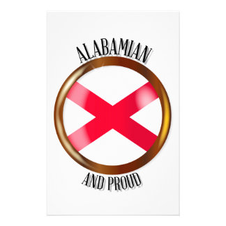 Alabama Proud Flag Button Stationery
