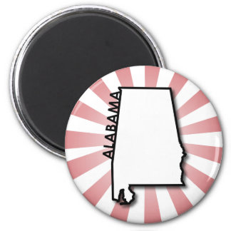 Alabama Red Burst 2 Inch Round Magnet