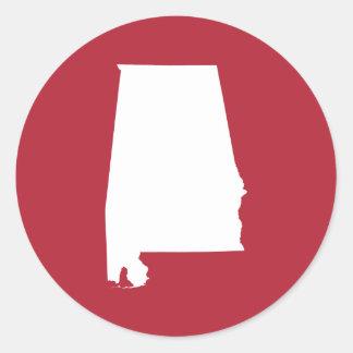 Alabama roja y blanca pegatina redonda