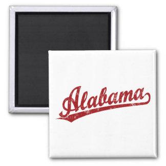 Alabama script logo in red 2 inch square magnet