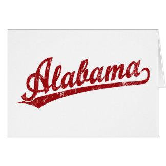Alabama script logo in red card
