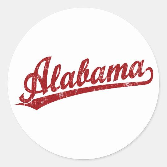 Alabama script logo in red classic round sticker
