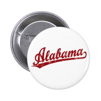 Alabama script logo in red pinback button