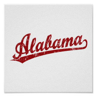 Alabama script logo in red poster