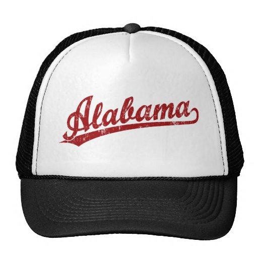 Alabama script logo in red trucker hat