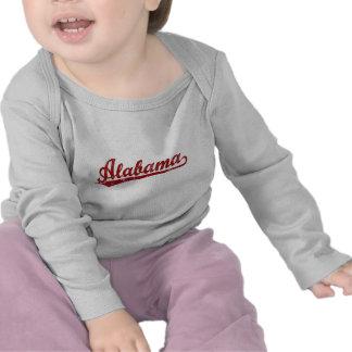 Alabama script logo in red shirts