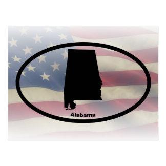 Alabama Silhouette Oval Design Postcard