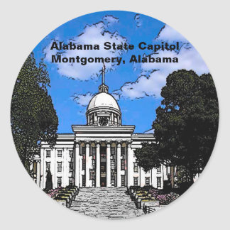 Alabama State Capitol in Montgomery (Cartoon) Classic Round Sticker