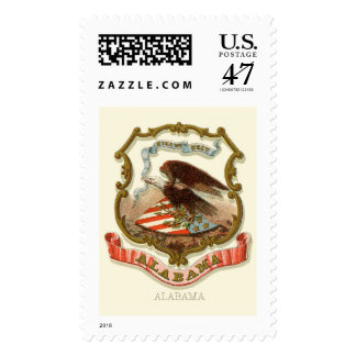 Alabama state coat of arms postage stamp