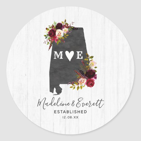 Alabama State Destination Rustic Monogram Wedding Clic Round Sticker