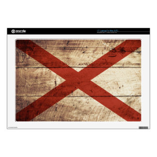 "Alabama State Flag on Old Wood Grain 17"" Laptop Skins"