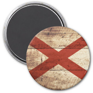Alabama State Flag on Old Wood Grain 3 Inch Round Magnet