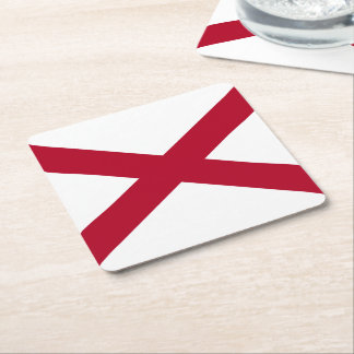 Alabama State Flag Square Paper Coaster