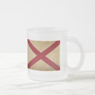 Alabama State Flag VINTAGE. Frosted Glass Coffee Mug