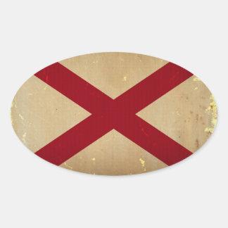 Alabama State Flag VINTAGE. Oval Sticker