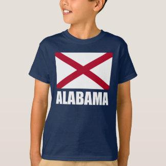 Alabama State Flag White Text T-Shirt
