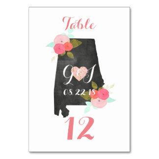 Alabama State Floral Wedding Table Number