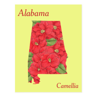 Alabama State Flower Collage Map Postcards