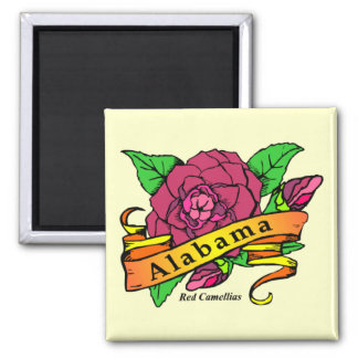 Alabama State Flower 2 Inch Square Magnet